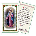 Holy Card-Lady Of Mirac Medal, Hail Mary